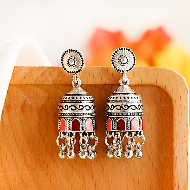 Hb7938c89f35c40e692e1c3f605593af3P - Retro Bollywood Oxidized Womens Jewellery Ethnic Silver Plated Afghan Bell Tassel Drop Jhumka Indian Earrings Wedding Jewelry