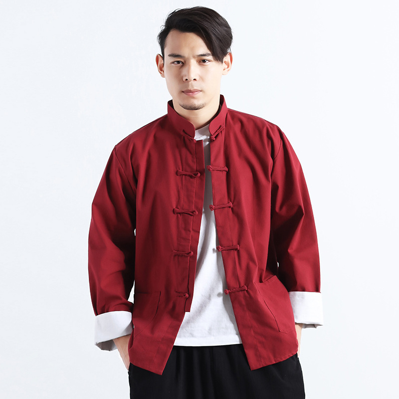 wecotton Tang Traje Hombres y Mujer Tradicional Chino Ropa Trajes Hanfu Kung Fu Camisa De Manga Corta Abrigo De Los Hombres Tops
