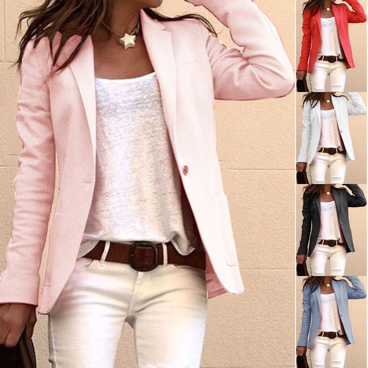 Fahion Long Sleeve Candy Colors Slim Office Blazer Mujer 2019 Autumn Casual Thin Blazers Women Suit Jackets Pink Coat