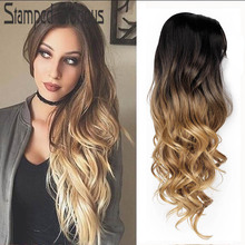 Stamped Glorious Natural Wave Wig Synthetic Ombre Black Blonde Wig