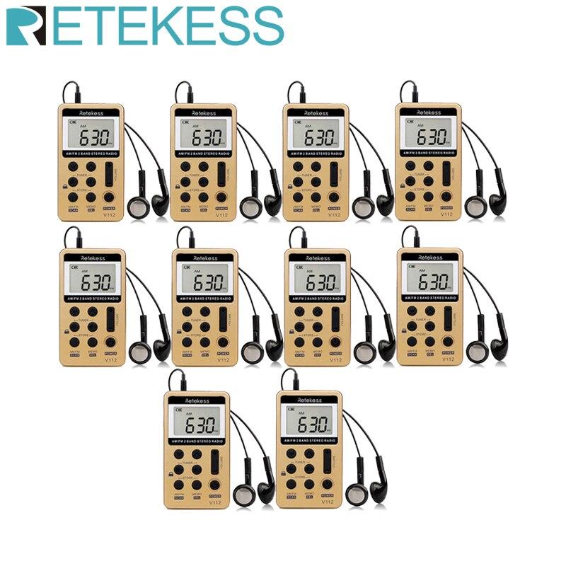 Retekess 10psc v112 fm am 2 banda rádio mini receptor portátil digital tuning rádio receptor com bateria recarregável & fone de ouvido