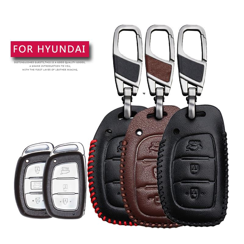 Leather Car Key Case Cover For Hyundai I30 IX35 <font><b>HB20</b></font> Solaris Rucson Accent SANTA FE Protection Key Shell Skin Bag Only case image