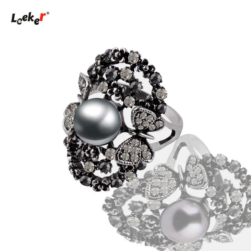 LEEKER Vintage Cubic Zircon Butterfly 9mm Simulated Gray Pearl Rings For Women Antique Silver Color Jewelry 003 LK9