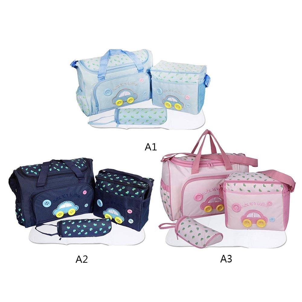 4PCS/set Car Printed Mother Bag Baby Diaper Bags Sets Multifunctional Baby Nursing Nappy Bag For Mom Organizer