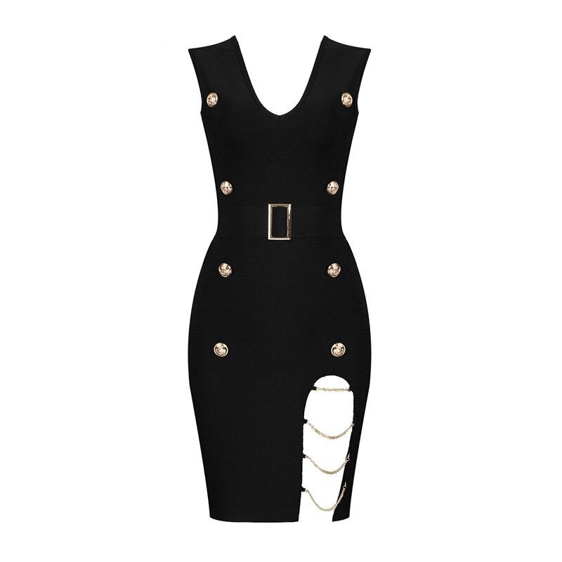 Vestidos Summer Dress Women Sexy Hollow Out Button Black Bandage Dress Women Vesitidos Rayon Bodycon Mini Party Dress 8