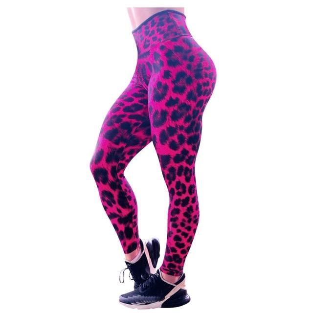 High Waist Leopard Print Leggings Bottom Wear Women color: Red