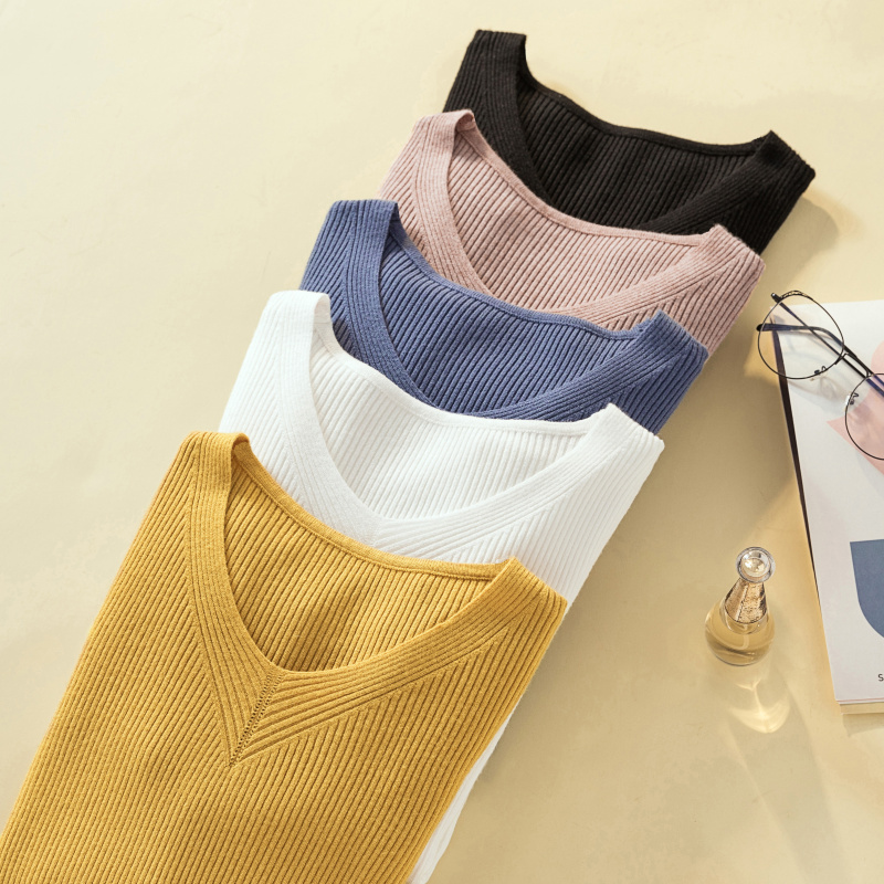 Milinsus V-neck Simple Long Sleeve Solid Color Women Sweater 2019 Autumn Winter Female Jumper Top New sStyle Pure Basic Pullover
