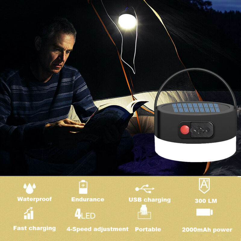 US Solar Power/USB Rechargeable LED Flashlight Camping Hiking Light Lantern Lamp