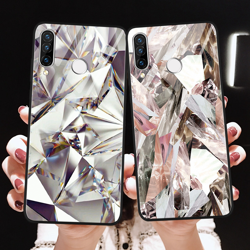 Tempered Glass <font><b>Case</b></font> For <font><b>Huawei</b></font> Honor 8X 9 Mate 20 Lite 10 30 <font><b>P20</b></font> P30 Lite Pro P Smart Y6 Y9 2019 <font><b>Diamond</b></font> Fashion Funda Coque Bag image