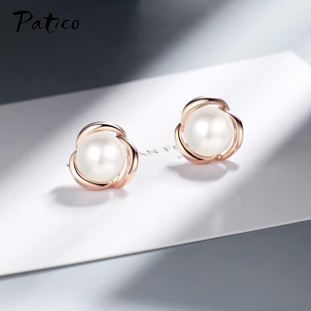 Temperamento coreano 925 Sterling Silver Pearl Orecchini Con Perno In Oro Rosa di Colore di Disegno Semplice Monili Penetranti Dell'orecchio