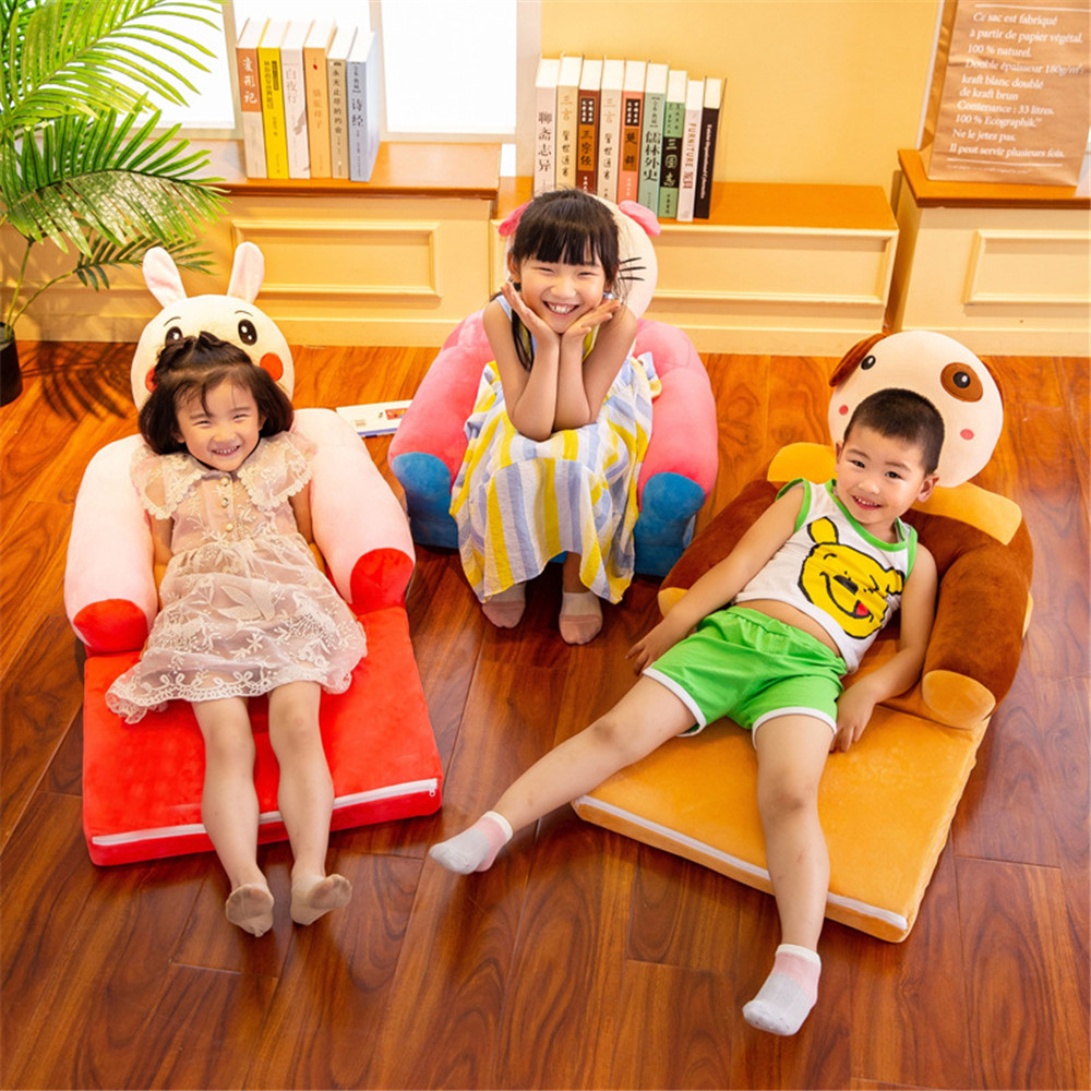 Baby Seats Sofa Kids Furniture Only Cover NO Padding Cartoon Foldable Seat Children Chair Toddler Sofa Folding Multi-layer