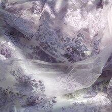 Tissu violet clair, largeur totale de 145cm, 1 M/lot, tissu en dentelle brodée en coton pour robe et couture bricolage-même