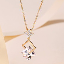 JIAN Trendy Gold Color Chain Necklace Elegant Crystal Long Choker Collar Pendant Jewelry for Women Ladies Girls Birthday Gift jian natural green pendant necklace choker women fashion jewelry birthday gift for girlfriend vintage chain collares