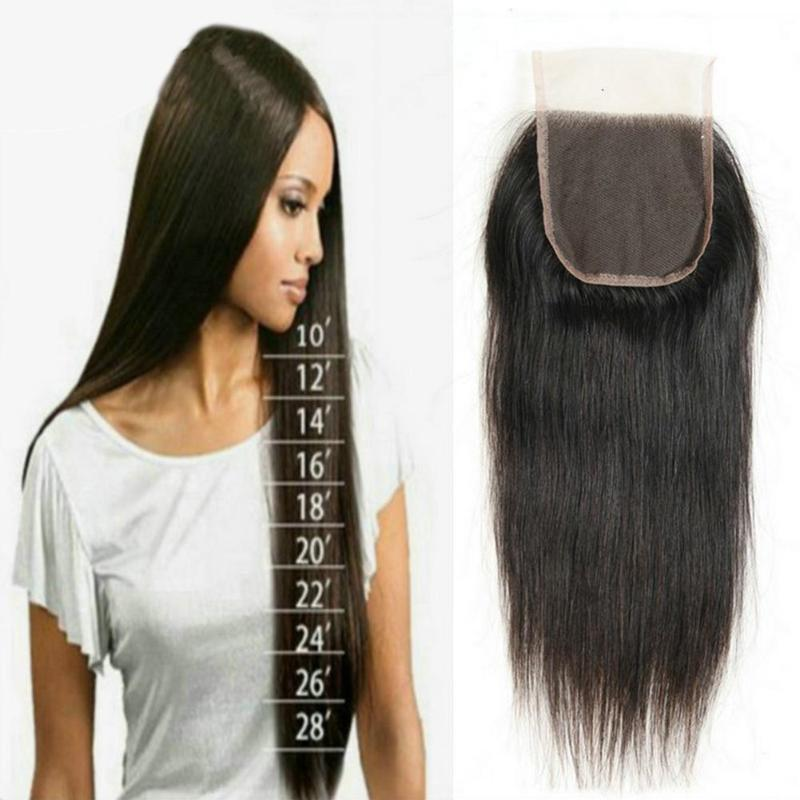 Closure Hair-Wig Bundles Human-Hair Lace Natural-Color Straight Brazilian Women for Wavy