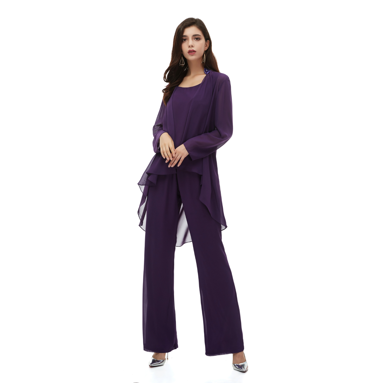 Elegant Three Pieces Mother of The Bride Dresses Chiffon Pant Suits with Long Jacket Plus Size Mother of the Groom Dress