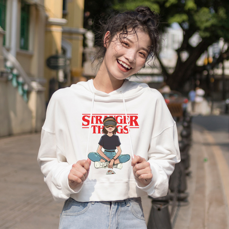 Fashion Stranger Things Clothes Print Crop Top Kawaii Cat Ear Hoodie For Women Streewear Girls Sweatshirts Casual Hoodies New