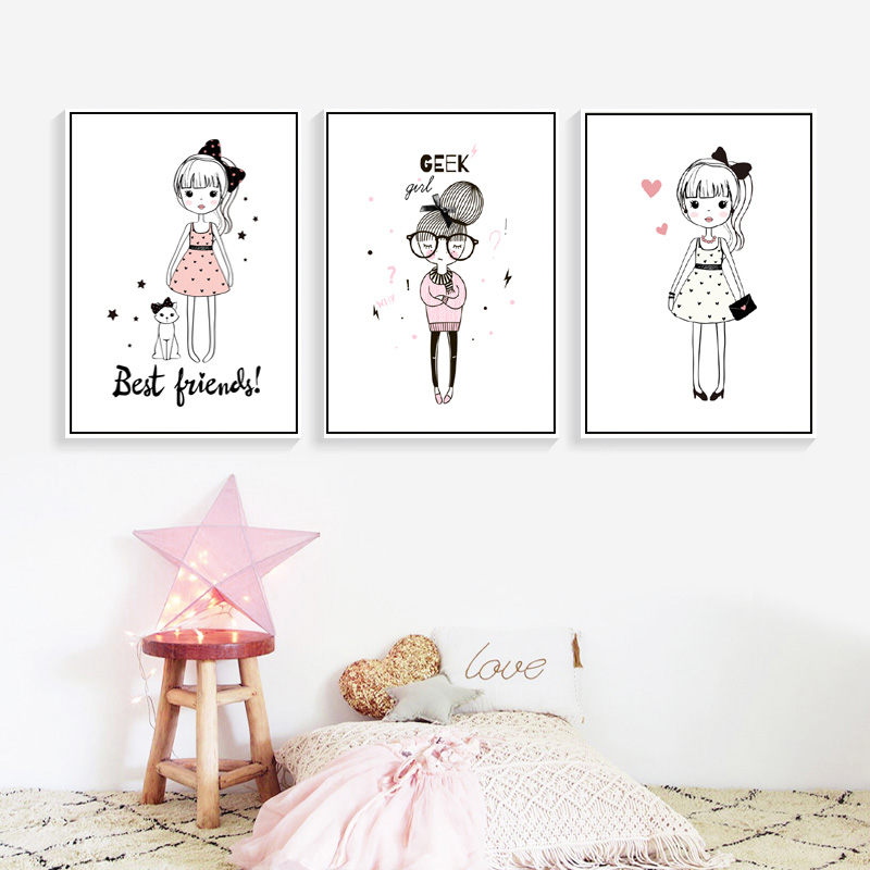 Girl Cartoon Wall Art Canvas Poster Prints Pink Infant Home Decor Picture