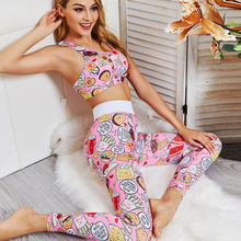 Yoga Suit 2020 New Cartoon Print Fitness Tracksuit For Women Two Piece Sets Sports Bra and Leggings Gym workout Set Clothing tropical print sports bra with leggings