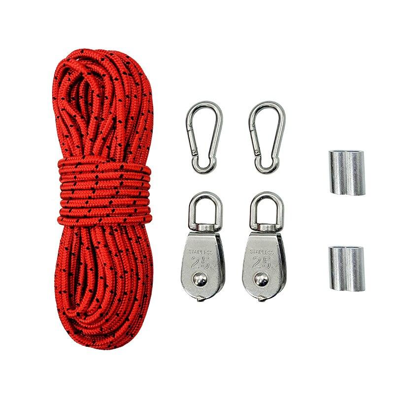 Crane Pulley Block M25 Lifting Crane Swivel Hook Single Hanging Wire Towing Wheel - 20M Nylon Rope