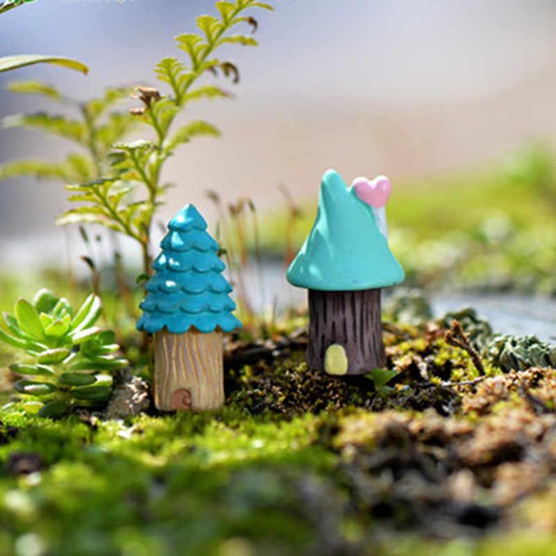 1pc ヴィンテージブルーハウスミニチュアクラフト妖精の庭の庭の装飾盆栽マイクロ造園装飾アクセサリー