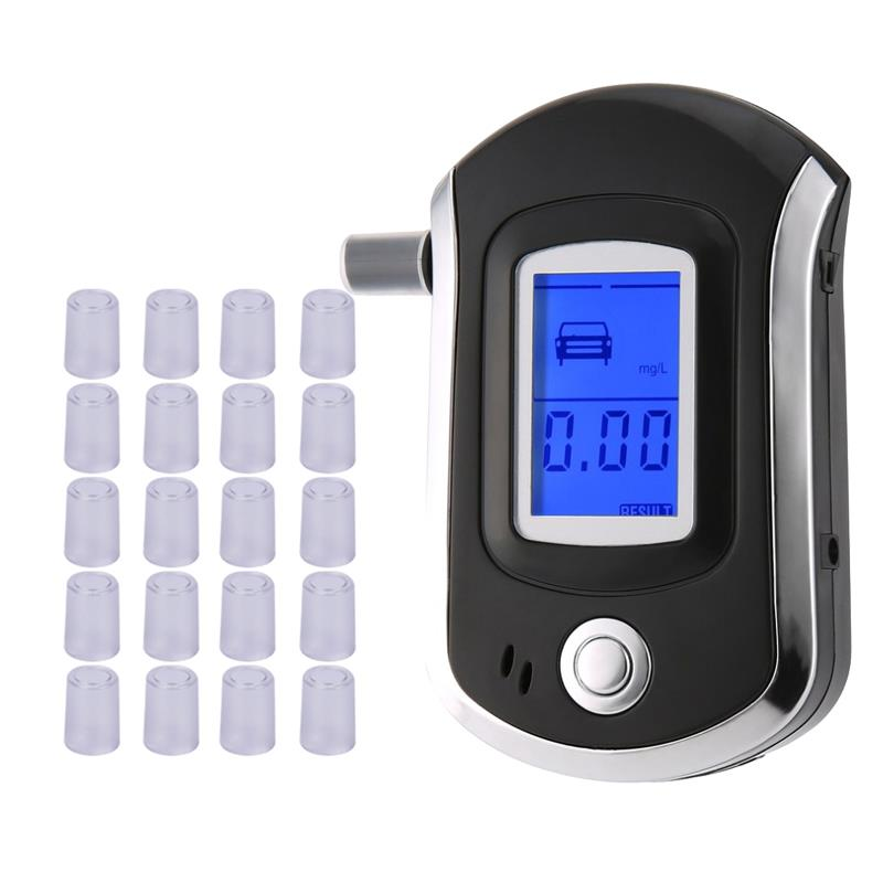 AT6000 Alcohol Tester With 21 Mouthpieces Professional Digital Breath  Breathalyzer With LCD Dispaly  Bafometro Alcoholimetro Df