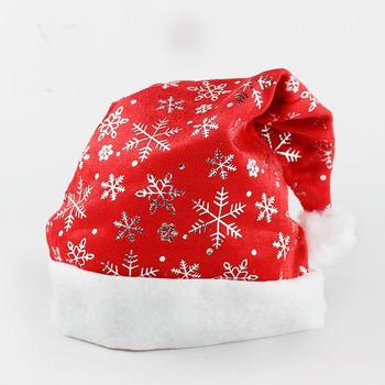 Gorąca sprzedaż czapki bożonarodzeniowe złoto srebro płatek śniegu księżyc Kapelusz dla Św Mikołaja dla dorosłych dzieci nowy rok boże narodzenie Cap boże narodzenie ozdoby tanie i dobre opinie CN (pochodzenie) Włókniny tkaniny red gold silver length 37 5cm width 28 5cm gauze non-woven fabric