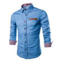 ZOGAA Spring Autumn Men Shirts 2019 Hot Casual Long Sleeve Pocket Male Patchwork Turn-down Slim Denim Cotton Dress Blouse