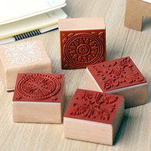 Wooden Rubber Decorative Pattern Stamps Scrapbooking Seal Stationery DIY Craft Standard Seal Handcrafts Account Book Decoration