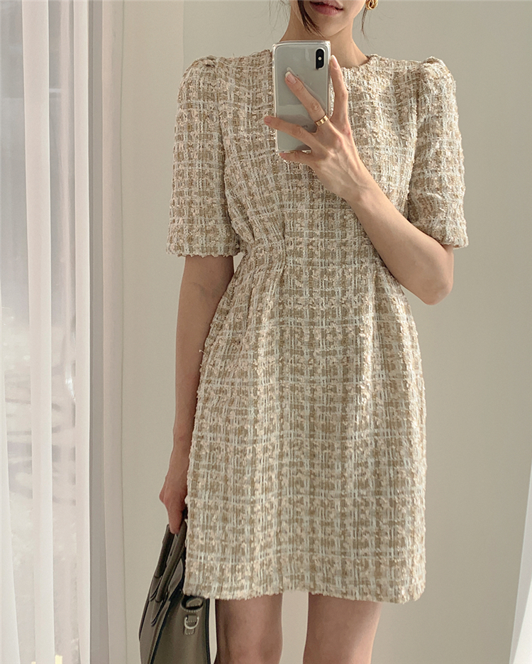 High Waist Casual Puff Sleeve Plaid Elegant Vintage Mini Dress 2