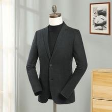Europe Men Solid Line Blazers Wool Regular Full Sleeve Blazer Jacket Smart Casual Business Suit Male Fashion Slim Fit Coat Green