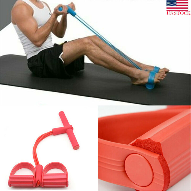 4 Tubes Strong Fitness Yoga Resistance Bands Latex Pedal Sit- Up Shaping Exerciser Puller Rope Resistance Movement Equipment
