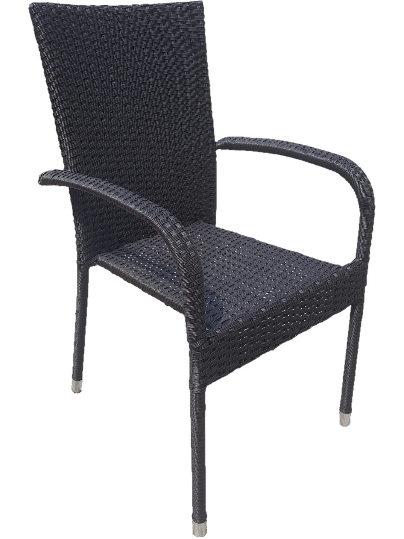 Faux Rattan Wicker Chair With Armrests Color Black