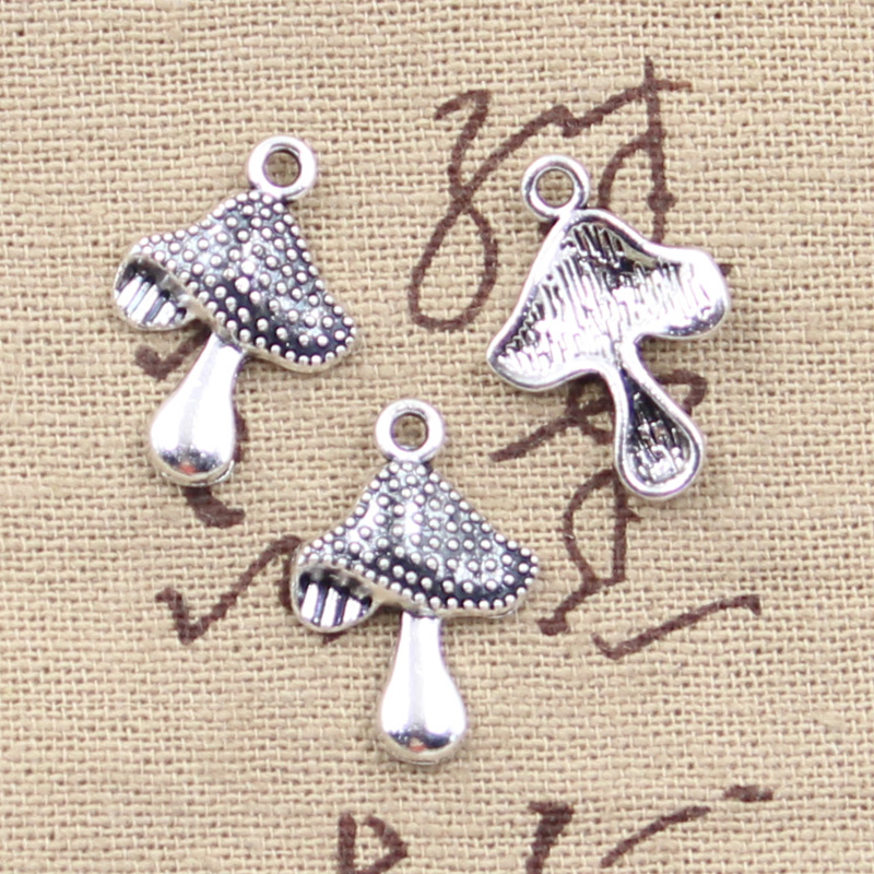 30pcs Charms Mushroom 20x14mm Antique Silver Color Pendants DIY Necklace Crafts Making Findings Handmade Tibetan Jewelry