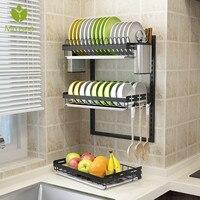 Stainless Steel Kitchen Dish Rack Desktop Plate Cutlery Cup Dish Drainer Drying Rack Wall Mount Kitchen Organizer Storage Holder