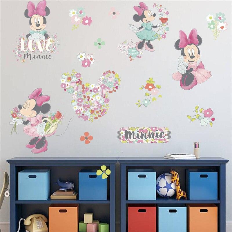 Милые Мультяшные наклейки на стену с Минни Маус для детской комнаты Livingrom вечерние украшения самодельные постеры настенные наклейки домашн...