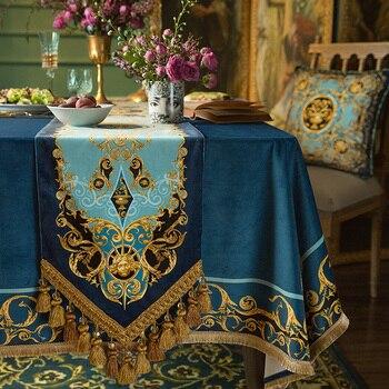 European Classic Velvet Table Runner Double Layer Short Plush Tassel Table Runner Bed Towel TV Cabinet Cover Cloth Bed Runner
