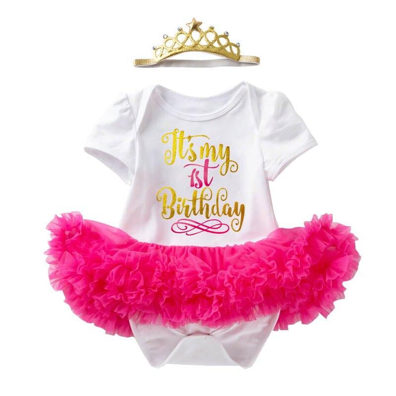 Meninas do bebê metade 1st 2nd anos de idade vestido meu primeiro aniversário carta fofo tutu vestido + coroa bandana outfits da criança vestidos rosa