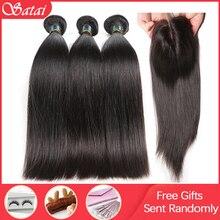 Satai مستقيم 8 40 بوصة 3 حزم مع إغلاق م البرازيلي شعر ريمي غير اللون الطبيعي 100% حزم الشعر البشري مع إغلاق