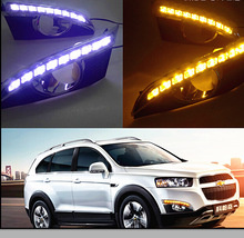 цена на DRL For CHEVROLET CAPTIVA 2011 - 2016 Turn Signal Relay Car-styling 12V LED Daytime Running Lights with fog lamp hole
