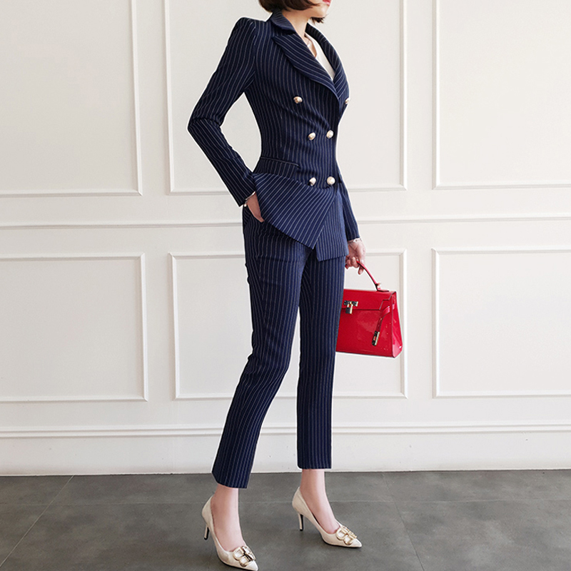 New Fashion Autumn Women High Quality Temperament Slim Suit And Fashion Pant Work Style Comfortable Office Striped Pant Suit