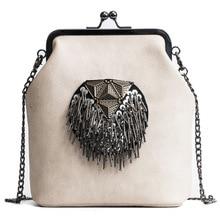 2021 New Fashion Pillow Bag Retro Punk Heavy Metal Iron Clip Single Shoulder Diagonal Female Bag Chain Bag