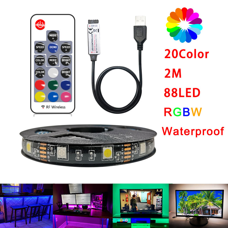 5V USB LED Strip TV 2M RGBW Changeable LED Tape Ribbon Flexible TV Background Lighting DIY LED String Light Decoration