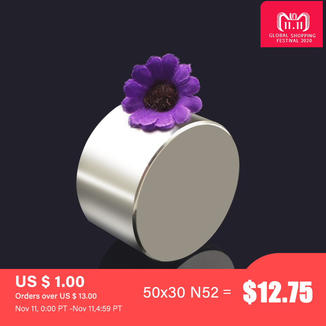 Magnet 1pc/lot N52 50x30 mm hot round Strong magnet Rare Earth N35 N40 D40 60mm Neodymium Magnet powerful permanent magnetic