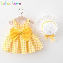 2 stück Sommer Kleinkind Mädchen Kleidung Set Baby Strand Kleider Nette Bogen Plaid Ärmellose Baumwolle Neugeborenen Prinzessin Kleid + Sonnenhut 2012