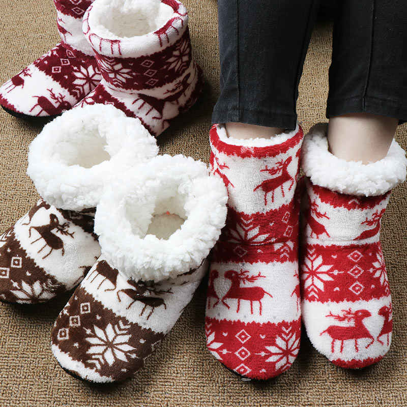 Kış ayakkabı kadın ev yarım çizmeler noel kapalı çorap çizmeler sıcak bayanlar pamuk kürk ayakkabı peluş botas mujer invierno 2019