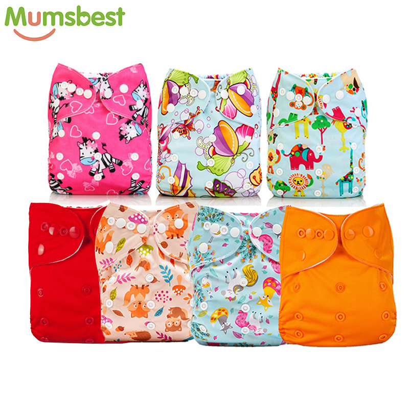 [Mumsbest] 7pcs/Set Baby Girl Pocket Cloth Diaper Washable  One Size Pocket Cloth Diaper Mumsbest Baby Cloth Nappy Girls