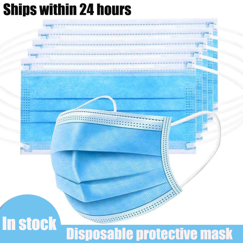Fast Delivery 2-500pcs Disposable Mask 3 Layers Anti Bacterial Dust Breathable Cloth Facial Safety Protective Cover Face Masks