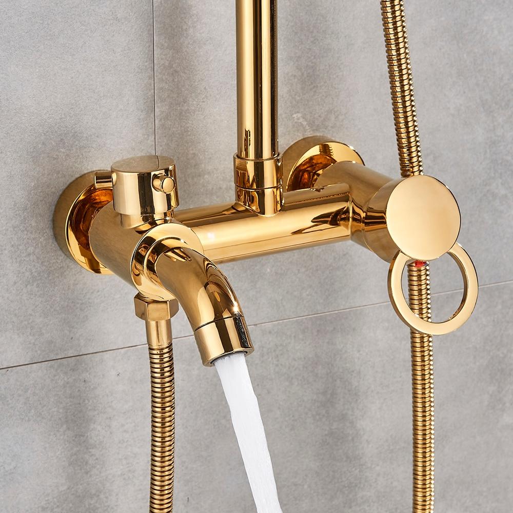 "Hb796a46bf0fe48d9b7e27cb9a13fdf30C Gold Polish Bathroom Rain Shower Faucet Bath Shower Mixer Tap 8"" Rainfall Head Shower Set System Bathtub Faucet Wall Mounted"