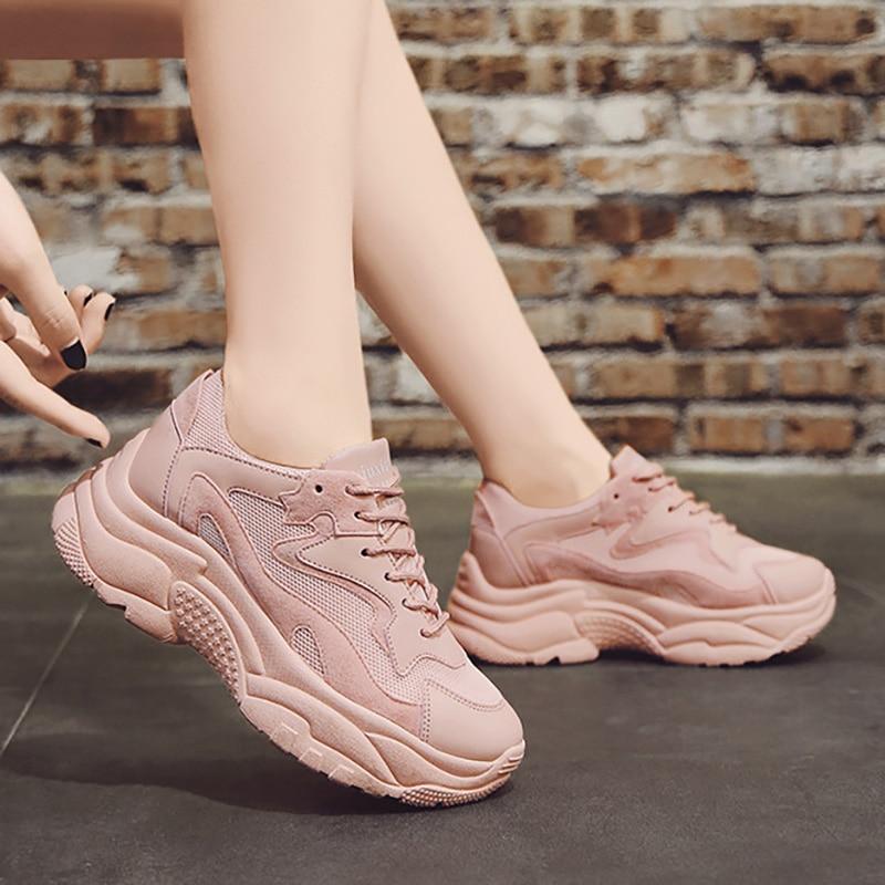 Women Shoes Fashion Sneakers Women Vulcanize Shoes Comfortable Tenis Feminino Chunky Platform Sneakers Female Trainers Pink