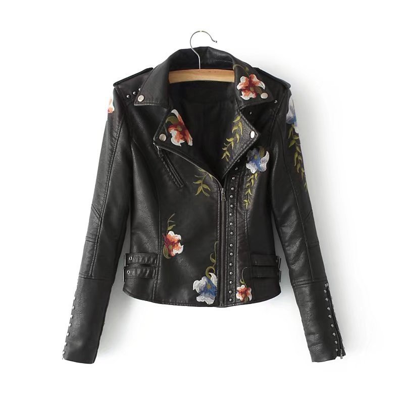Floral Embroidery Faux Soft   Leather   Jacket Pockets Women Coat Turn-Down Collar Pu Motorcycle Black Punk Outerwear